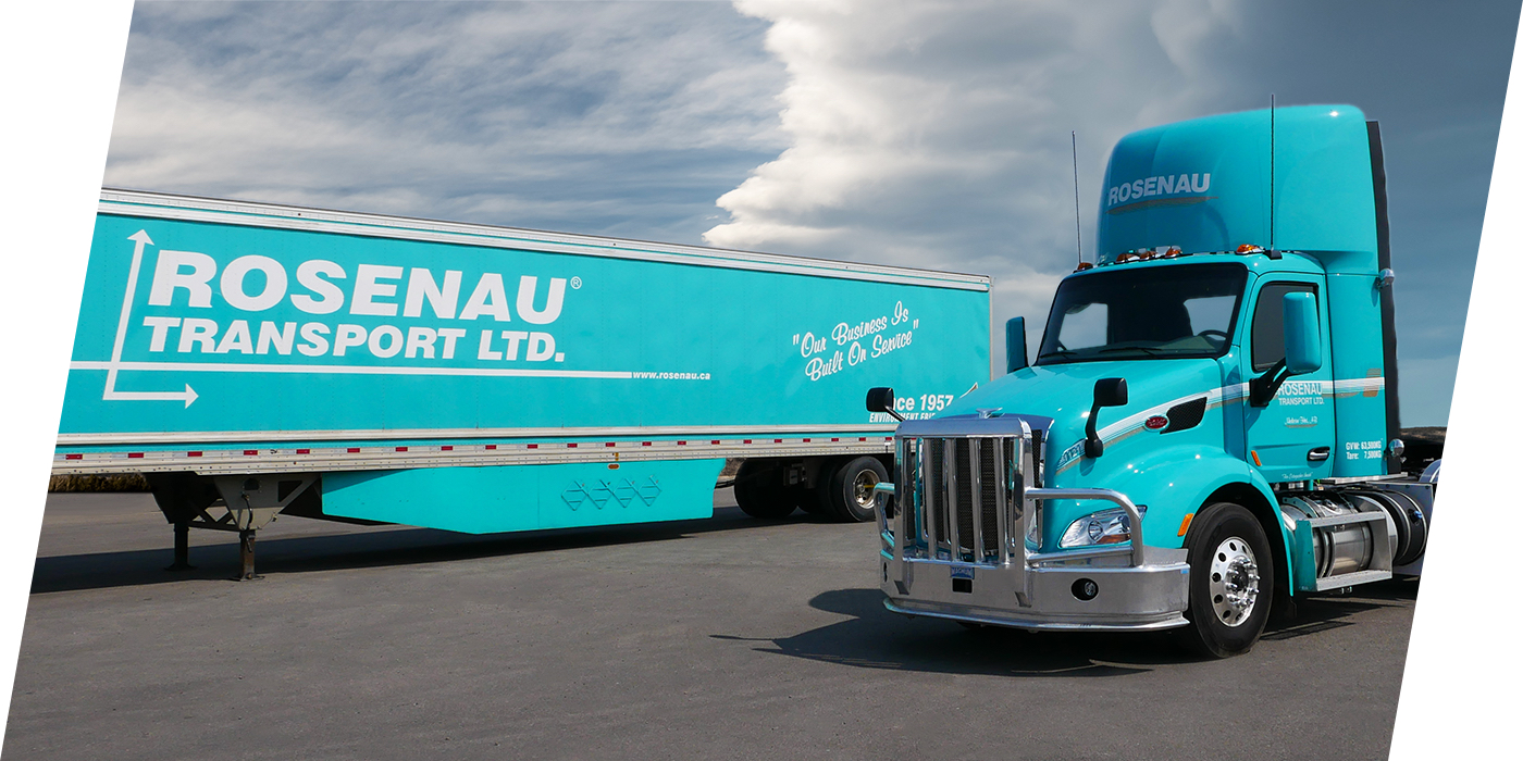 Rosenau Transport truck used for trucking services